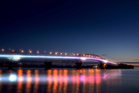 An artist's impression shows how the proposed SkyPath could light up the Auckland Harbour Bridge. Photo / Copeland Associates Architects