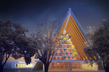 An artist's impression of the cardboard cathedral planned for Christchurch. Photo / File 
