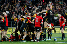 The Chiefs playing against the Crusaders. File photo / Christine Cornege