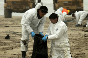The clean-up after the Rena spilled 350 tonnes of heavy fuel oil cost $47 million. Photo / APN