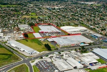 Aerial view of The Warehouse's North Island distribution centre in Wiri. Phot