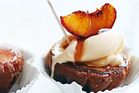 Caramelised peach, brioche and maple sundaes. Photo / Donna Hay Magazine