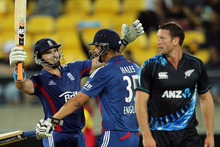 Michael Lumb (L) and Alex Hales of England celebrate after winning the third Twenty20 International match between New Zealand and England at Westpac Stadium. Photo / Getty Images