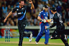 Ian Butler celebrates a wicket in the second T20, won byt the Black Caps. Photo / Getty Images