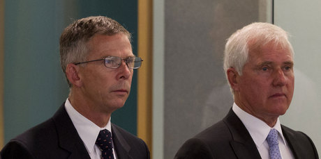 Dominion Finance chief executive Paul Cropp (left) and former director Robert Whale in court yesterday. Photo / Brett Phibbs