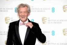 Ian McKellen was grinning but The Hobbit wasn't winning at the Baftas. Photo/AP