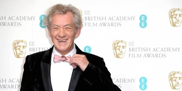 Ian McKellen was grinning but The Hobbit wasn't winning at the Baftas. Photo/AP