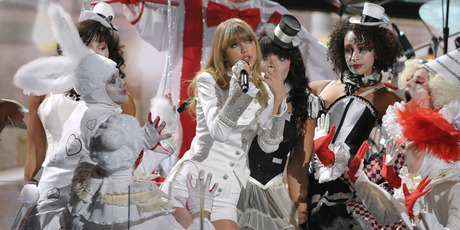 Taylor Swift performing at the Grammys. Photo/AP