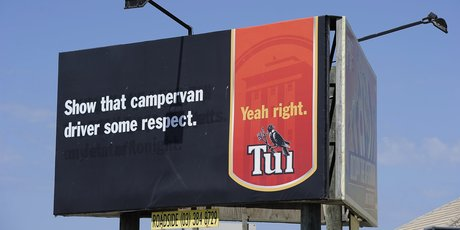 The new Tui sign on Hewletts Road generated outrage in some. Photo / George Novak