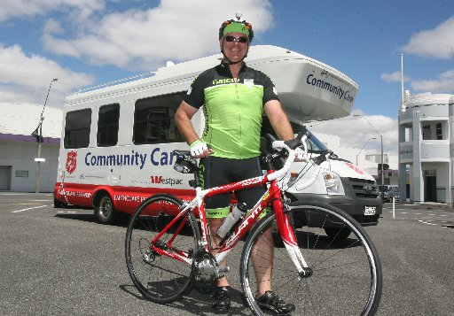 23-DAY MISSION: David Smith from the Salvation Army is cycling the North Island to raise money for the Sallies.
