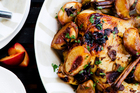 Asian Roast Chicken with Spiced Peaches. Photo / NZH
