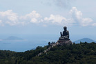 Tian Tan Buddha, a large bronze statue of a Buddha Amoghasiddhi, is seen on Lantau Island, a popular tourist spot in Hong Kong. Photo / AP