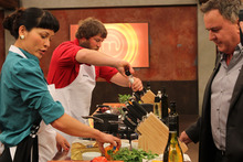 Corinna Jewanski and Johnny Trevathan in the Masterchef kitchen.