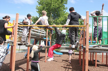 Pupils use the playground at Phillipstown School in Christchurch, which is set to merge with Woolston School in January, 2013. Photo / File photo
