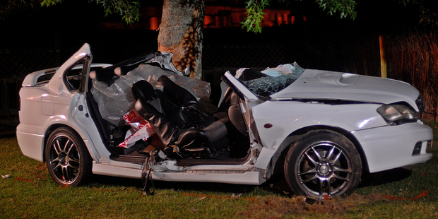 Two people died when the car they were in hit a tree in Edgecumbe last night. Photo/Lani Hepi