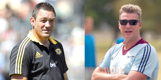 Loading Mark Hammett is in his third campaign with the Hurricanes; John Kirwan is in his first year, with the Blues. Photo / Getty Images, Greg Bowker