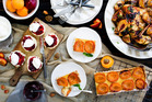 Plum Jam on scones with cream, Asian Roast Chicken with Spiced Peaches and Apricot and Ricotta Tart. Photo / NZH