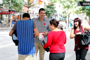 Hoani MacDonald, whose heart attack ended his rugby days, was out on Queen St for the Heart Foundation. Photo / Michael Craig