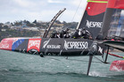 Team New Zealand test their new AC72 boat in the Hauraki Gulf. Photo / Natalie Slade
