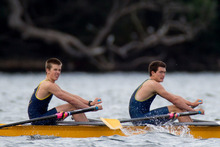 Patrick Daolan and Bill Stanley-Harris, in the Auckland Grammar U17 double scull during the heats at Lake Pupuke on Saturday.  Photo / Greg Bowker