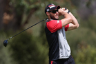 Captain Simon Mannering tees off during a Warriors NRL golf day at Titirangi Golf Club yesterday.  Photo / Getty Images