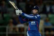 Joe Root plays one of his unorthodox shots during his fine unbeaten 79 at Napier. Photo / Getty Images