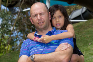 Michael Pleciak is unhappy 6-year-old Eva is no longer allowed on the water slide. Photo / Richard Robinson