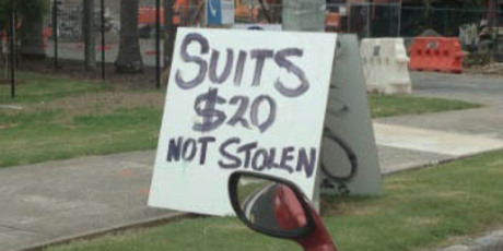 Bet they're classy suits. Spotted in Avondale. Photo / Supplied