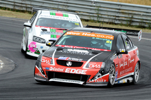 Supercars stalwart Greg Murphy leads the V8 SuperTourers at Hampton Downs yesterday - he would not have had it any other way.  Photo / Geoff Ridder