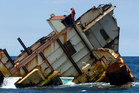 The wreck of the MV Rena off the coast from Tauranga. Photo / Alan Gibson