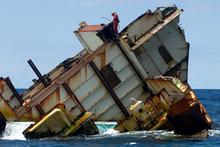 The wreck of the MV Rena off the coast from Tauranga. Photo / Alan Gibson