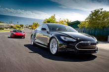 Tesla is hoping to sell 20,000 units of the Model S (front). Photo / Supplied 