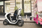 The Twizy is just 1.4m wide and 2.3m long, but surprisingly can carry two. Photo / Supplied