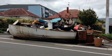 Tsunami hits Mt Wellington? Or just inorganic rubbish collection week? Photo: Julie Hancock/Supplied