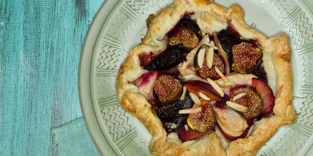 Rustic fig, pear and plum tart. Photo / Michael Craig