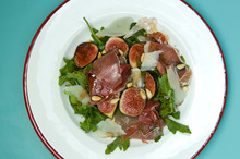 Fig, rocket prosciutto and pine nut salad. Photo / Michael Craig