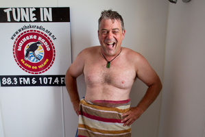 Simon Mansfield co-host of Waiheke Radio's Saturday morning breakfast show. Photo / Richard Robinson