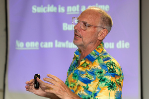 Australian euthanasia advocate Dr Philip Nitschke during his talk at the Wellington Library. Photo / Mark Mitchell