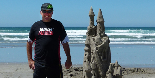 Brett Muir of Cambridge won the Hyundai Sand Sculpting competition with his fantasy sand castle. Photo / Supplied