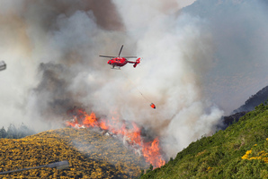 A helicopter using a monsoon bucket to fight a scrub fire above Happy Valley Road in Wellington. Photo / Mark Mitchell