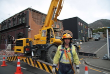 Alastair Suren of the Lyttelton Volunteer Fire Brigade at work after the 22 February quake. Photo / Supplied