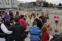 Members of the public were allowed onto the former CTV site to pay their respects. Photo / Geoff Sloan