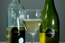 Kim Crawford Pinot Gris light wine (L) with a Kim Crawford standard Pinot Gris (R). Photo / Dean Purcell.