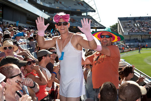 Daniel Stamp of Titirangi airs his 'hairy cleavage' at the cricket at Eden Park. Photo / Neville Marriner