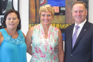 From left, Christie Marceau Foundation trustee Janine McArthur, Tracey Marceau, John Key and Christie Marceau.  Photo / Supplied