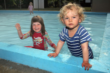 Tess and Quin Degnan at the opening of Woodham Park Paddling Pool. Photo / Geoff Sloan