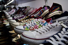 Fake Converse Chuck Taylor shoes at The Fakes Market in Shanghai. Photo / Supplied