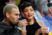 Chris Brown, left, and Rihanna. Photo / AP 