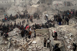 The Syrian regime has extensively used warplanes to carry out raids on heavily populated areas. Photo / AP