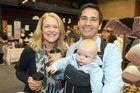 Natalie and Simon Bridges with Baby Emlyn (5 months). Photo / Andrew Warner